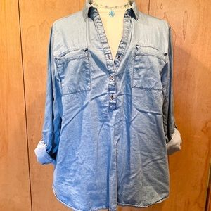 Sz 22/24 Chambray blue denim tunic top by Cato